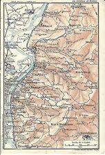 Carta geografica antica TORINO LA COLLINA 1914 Old antique map