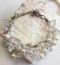 Bracelet Clear Quartz Triple Stranded Freshwater Pearl Silk Thread White new