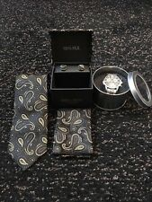 Luxury Mens Tie and Watch Gift Set - BLACK/GOLD