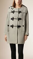 NWT Burberry Anbridge Wool Cashmere Duffle Coat, Light Grey, XS
