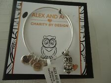 Alex and Ani OWL II Charity By Design Bangle Russian Silver W/Tag Card & Box