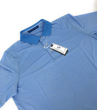 Southern Tide Mens Striped Skipjack Preppy Rugby Blue Polo Shirt Size Large