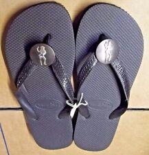 New Havaianas Women's Flip Flops Black Cowgirl w Pistol Accent Sandals  10.5  XL