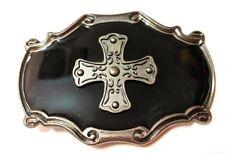 Pewter and Black CROSS ` Metal BELT BUCKLE **US seller , Nice Buckle