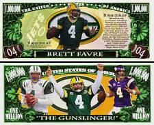 Brett Favre Million Dollar Bill Collectible Fake Play Funny Money Novelty Note