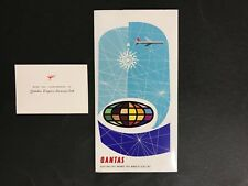 AIRLINE VINTAGE QANTAS TICKET FOLDER ONLY & COMPLIMENTS CARD FROM 1960's