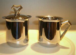 Vtg Stainless Steel Chrome Sugar & Creamer Set Art Deco Style