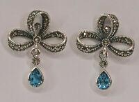 9927799 925er Silber Blautopas-Ohrringe Schleife Markasiten Jugendstil