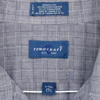 TOWNCRAFT JC PENNEY Vtg 90s Blue Plaid S/S BUTTON SHIRT MEN'S XL TALL 17.5