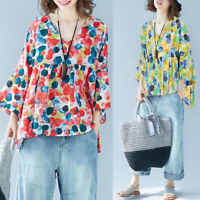 ZANZEA Women 3/4 Sleeve Top Tee T Shirt Loose Baggy Plus Size Polka Dot Blouse