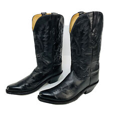 "Old West LF 1510 Pull-On Black Soft Leather 13.5"" Tall Cowboy Boots Sz 9.  EUC"