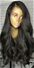 """20"""" 7A Indian Virgin 200% Density #1b Body Wave Glueless Full Lace Wig"""