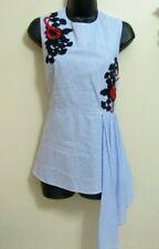 V Christina Womens Sz M Blue White Striped Peplum Blouse  Amazing Appliques New