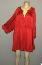 LANE BRYANT Ladies Plus 26/28 Gorgeous Silky Cranberry Red DRESSY BLOUSE