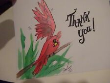 Silly Red Bird Thank you ! Card Envelope Original Acrylic Watercolor Art signed