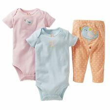 Carters Baby 3 piece Set Bird Turn Me Around Newborn NB Tee 2 Bodysuit Pants NWT