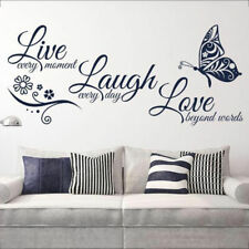Live Laugh Love Quotes Butterfly Wall Stickers Art Mural Decal Home Room Decor