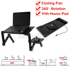 360° Adjustable Foldable Desk With Cooling Fan Laptop PC Table Vented Stand Bed