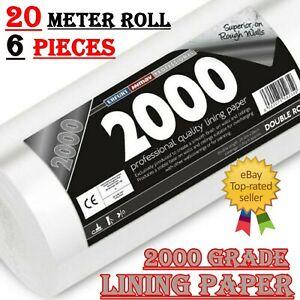 6X 20m Erfurt Mav Professional Grade 2000 Lining Paper Wallpaper Double Roll UK
