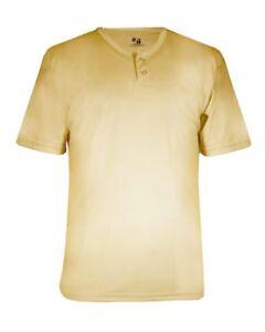 Badger B-Dry Core Placket Baseball Henley Shirt 7930 S-4XL Polyester NEW