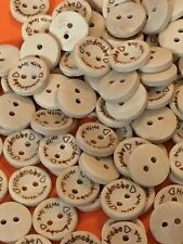 50 x 15 mm Handmade With Love Wooden Buttons #528