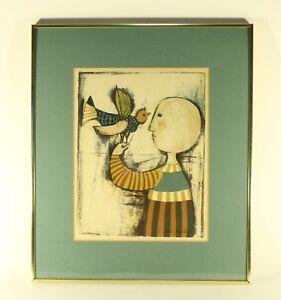 Graciela Rodo Boulanger Signed Original  Print, Child with Bird, Framed WITH COA