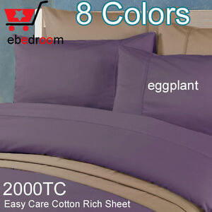 DB-2000TC High Quality Fitted Flat &Pillowcases Purple/Grape Sheet Set-RRP $507