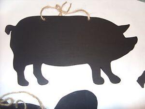 PIG chalkboard black board memo sign gift piggy pork menu butchers shop sign