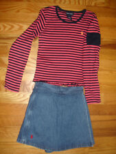 RALPH LAUREN GIRLS LOT SET OF 2 DENIM SKIRT SHORTS & TOP SHIRT size 6X BLUE PINK