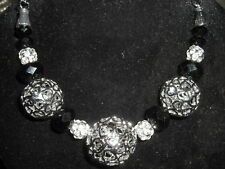 Massives Kugel Collier Silber Strass Glasperlen black