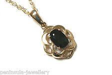 """9ct Gold Celtic Sapphire Pendant and 18"""" Chain Made in UK Gift Boxed Necklace"""
