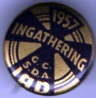 1957 pin INGATHERING pinback  CHRISTIAN button