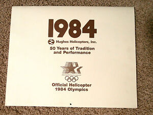 """RARE 1984 L A OLYMPICS  HUGES HELICOPTER  CALENDAR IN MINT CONDITION!! 16"""" X 20"""""""