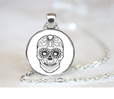 Sugar Skull-Day Of The Dead PENDANT NECKLACE Chain Glass Tibet Silver Jewellery
