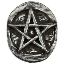 Pentagram Pocket Stone Pewter Amulet Worry Token Altar Coin Wicca Pagan NEW