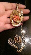STUNNING VINTAGE SIGNED MIRIAM HASKELL PENDANT AND CHAIN