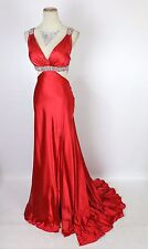 New Jovani 71797 Authentic Red Halter Beaded Bridal Wedding Formal Long Gown 6