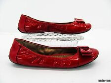 ME TOO LINGER Womens Red Patent Leather Half Bow Ballet Flats Shoe 5.5M #T6