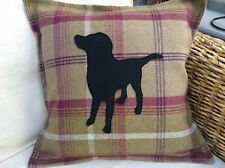 """Cushion Cover.Black,Brown,Yellow Or Fox Red Labrador.Balmoral Heather.  Fit 18"""""""