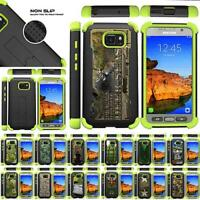 For Samsung Galaxy S7 Active Case Grip Dual Layer Kickstand Defender Green Cover