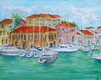 """Heraklion"" ORIGINAL signed watercolor painting Marina Venitian Harbor Greece"