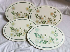 VINTAGE ST MICHAEL Country Diary Floral Set of 4 Oval Cork Backed Placemats