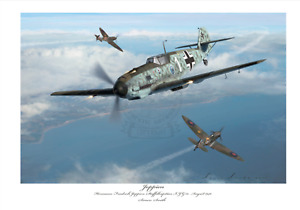 BATTLE OF BRITAIN FIGHTER ACE JOPPIEN- BF109E JG51 LIMITED EDITION SIGNED PRINT