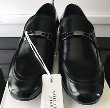 VERSACE COLLECTION Men's Black Brushed Leather Slip on Loafers Shoes UK7 RRP£307