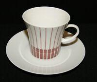 Melitta Porzellan Jupp Ernst Form Zürich Dekor Streifen rot Kaffee Gedeck 2 tlg