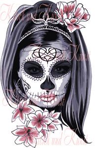 Lady Maske Blumen Scull auf A4 Abziehbild Decalfolie Laser Möbeltattoo