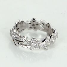 Diamond Platinum Eternity Ring Sz 5 3/4 Vintage Fine Estate Jewelry Flower Leaf