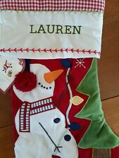 Pottery Barn Kids SNOWMAN Christmas Quilted Stocking RED  Monogram LAUREN