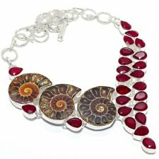 Ammonite Fossil, Ruby Gemstone 925 Sterling Silver Jewelry Necklace 18""