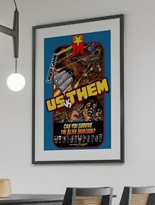 Us vs Them 1984 Mylstar Arcade Retro Video Game Poster 24 x 36 inches